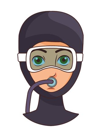 woman with snorkel diving avatar cartoon character vector illustration graphic design 向量圖像