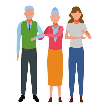 elderly couple and woman avatar cartoon character vector illustration graphic design