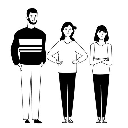 group of friends avatar cartoon character with fashion casual clothes  vector illustration graphic design Ilustração