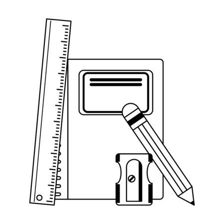 School utensils and supplies ruler and sharpener with book Designe