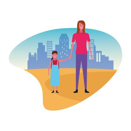Single mother with kid daughter cartoon over cityscape scenery Ilustração