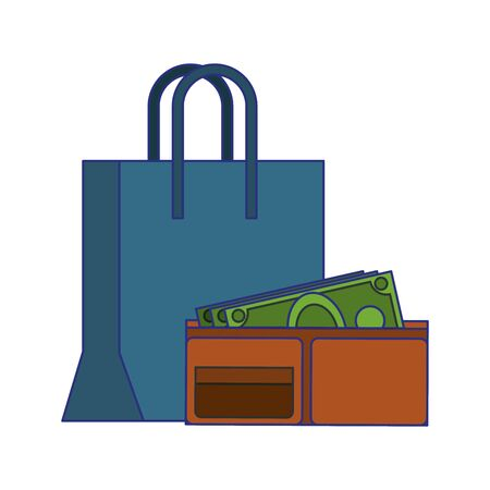 Shopping and sales bag and wallet with money symbols vector illustration graphic design