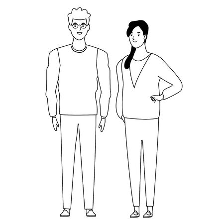 couple avatar cartoon character  with casual fashion clothes vector illustration graphic design Foto de archivo - 124987009