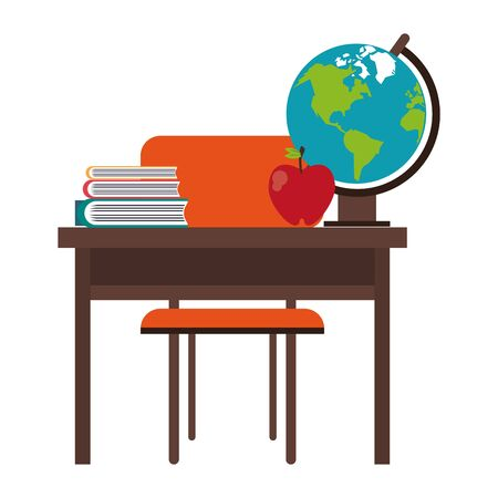 Education and school supplies desk with world globe and apple cartoons vector illustration graphic design Ilustração
