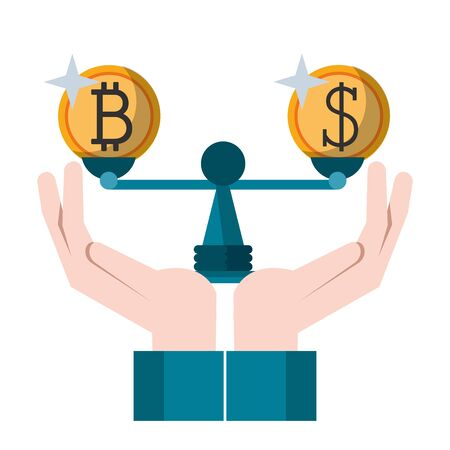 Cryptocurrency and money in balance symbol vector illustration graphic design Illustration