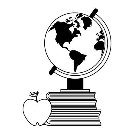 Education and school supplies world globe and books with apple cartoons vector illustration graphic design