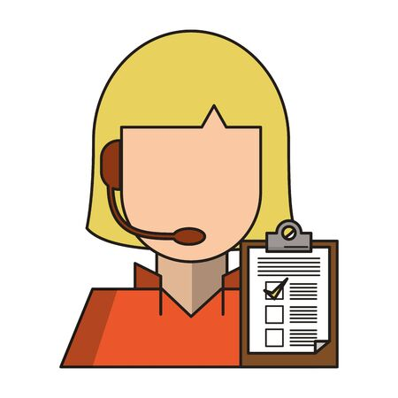 Call center operator woman with clipboard avatar vector illustration graphic design