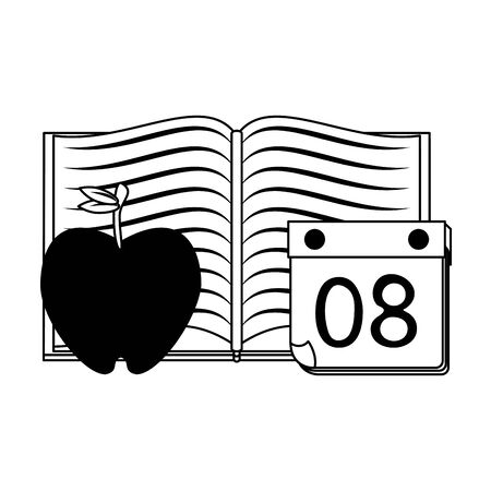 Education and school supplies book and apple with calendar cartoons vector illustration graphic design Ilustração