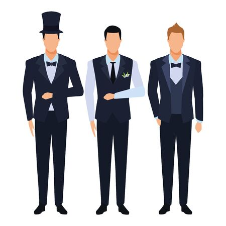 men wearing tuxedo avatar cartoon characters with bow tie, top hat and waistcoat vector illustration graphic design Illustration