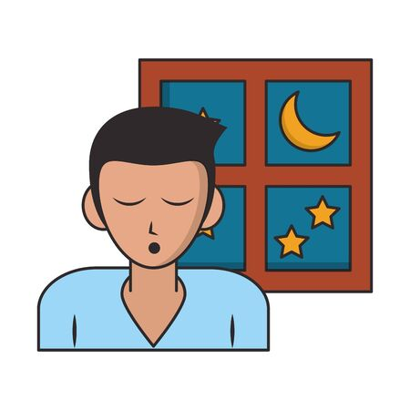 Sleeping and resting man with eyes closed and window cartoons vector illustration graphic design