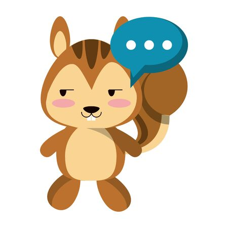 Cute squirrel with speech bubble animal cartoon vector illustration graphic design