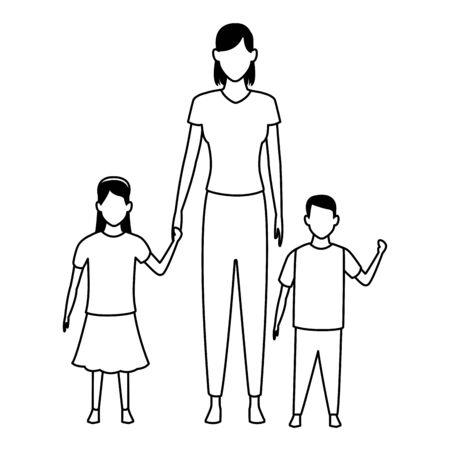 woman with children avatar cartoon character  vector illustration graphic design Stock Illustratie