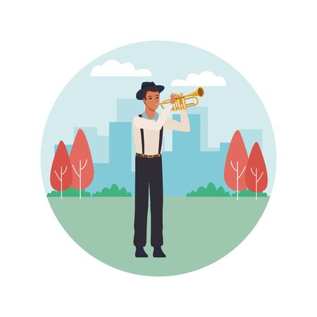 musician playing trumpet avatar cartoon character in the park cityscape round icon vector illustration graphic design Ilustração