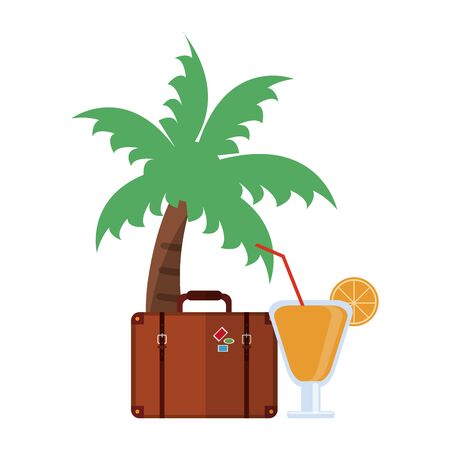 Vacations and travel palm with suitcase and cocktail vector illustration graphic design Illustration