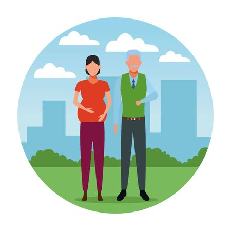 pregnant woman and old man avatar cartoon character   at cityscape round icon vector illustration graphic design Banque d'images - 124987049