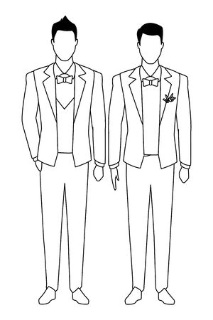 men wearing tuxedo avatar cartoon characters with bow tie and waistcoat black and white vector illustration graphic design