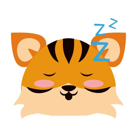 Cute tiger sleeping animal cartoon  vector illustration graphic design Illusztráció