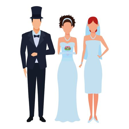 people dressed for wedding avatar cartoon character vector illustration graphic design 向量圖像