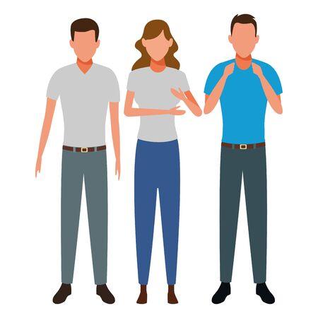 men and woman avatar cartoon character vector illustration graphic design Stock Illustratie