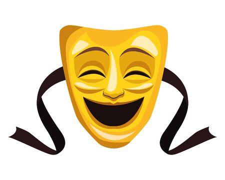theater mask icon cartoon vector illustration graphic design