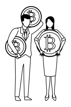 Business people with bitcoins avatars vector illustration graphic design Zdjęcie Seryjne - 124989622