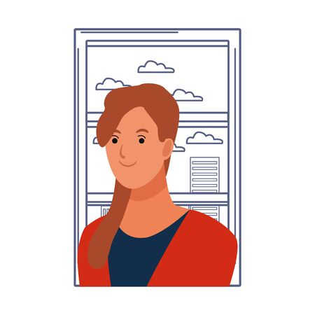 woman avatar cartoon character portrait profile style  over window with cityscape view vector illustration graphic design Illustration