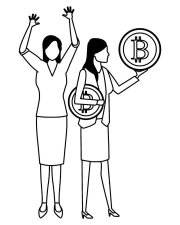 Business people with bitcoins avatars vector illustration graphic design Standard-Bild - 124980754
