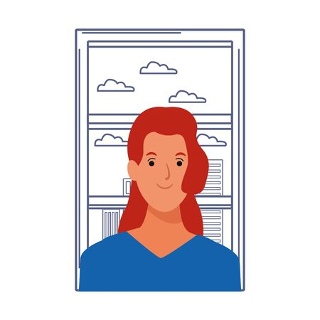 woman red hair avatar cartoon character portrait profile style over window with cityscape view vector illustration graphic design