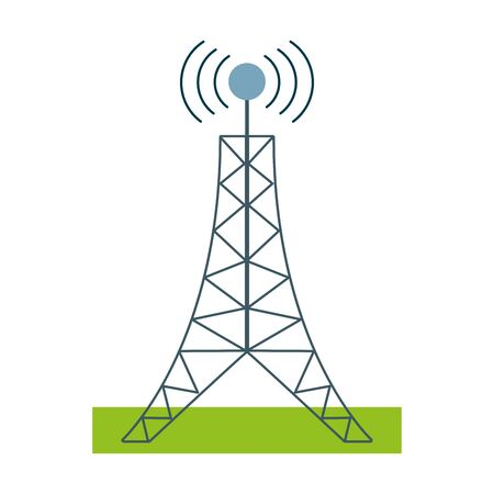 Telecommunication antenna tower symbol Illustration