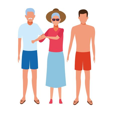 old couple and young man avatar wearing summer clothes and sunglasses vector illustration graphic design Illustration