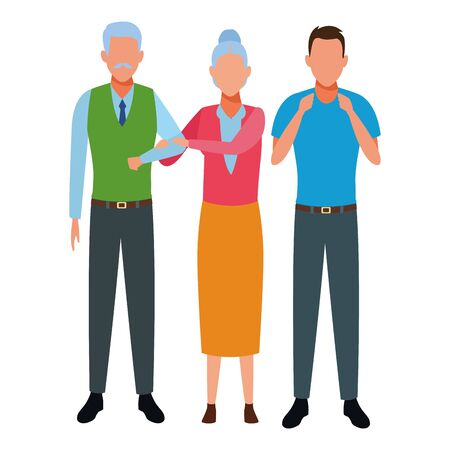 elderly couple and man avatar cartoon character vector illustration graphic design