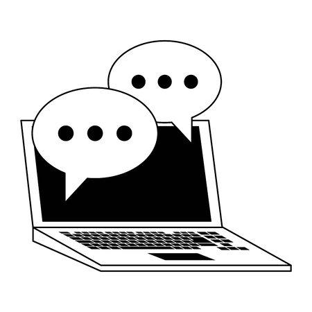 Laptop with chat bubbles symbols vector illustration graphic design
