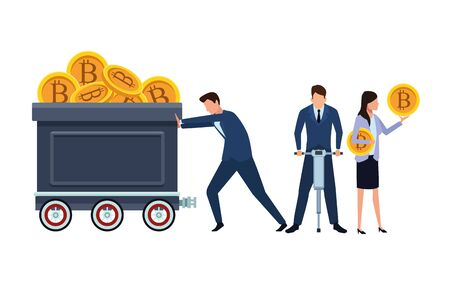 business people holding cryptocurrency bitcoin mining cart and drill vector illustration graphic design Banco de Imagens - 124979724