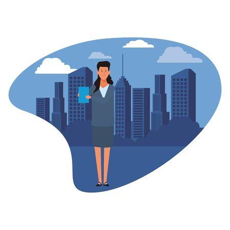 businesswoman avatar cartoon character with documents folder cityscape skyscraper vector illustration graphic design