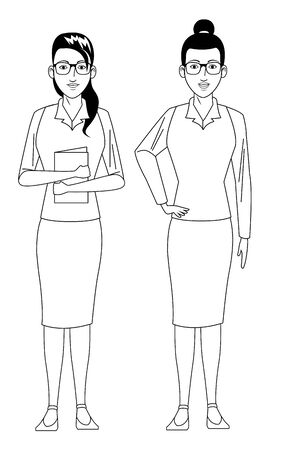 businesswomen avatar cartoon character wearing sueter and skirt black and white vector illustration graphic design Standard-Bild - 124977968
