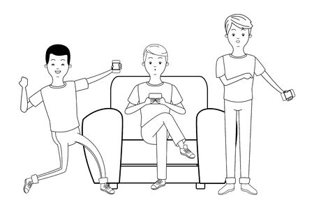 young men friends excited using smartphone device sitting at couch cartoon vector illustration graphic design