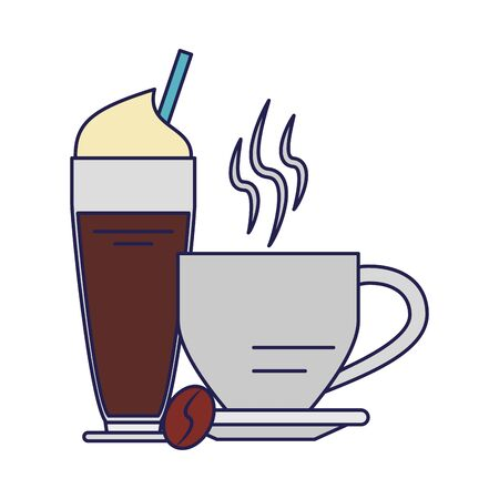 Coffee cup hot beverage coffeeshop products with whipped cream and straw vector illustration graphic desing