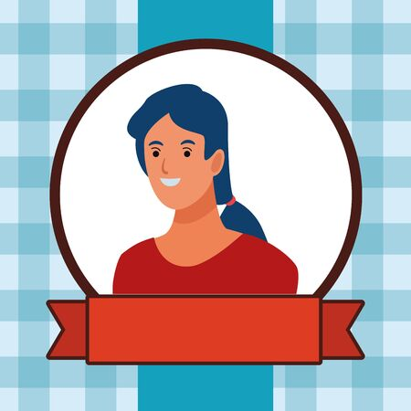 woman avatar cartoon character portrait profile style  round frame with red ribbon banner over blue background vector illustration graphic design Illustration