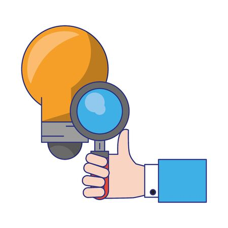 hand with magnifying glass and light bulb icon cartoon vector illustration graphic design