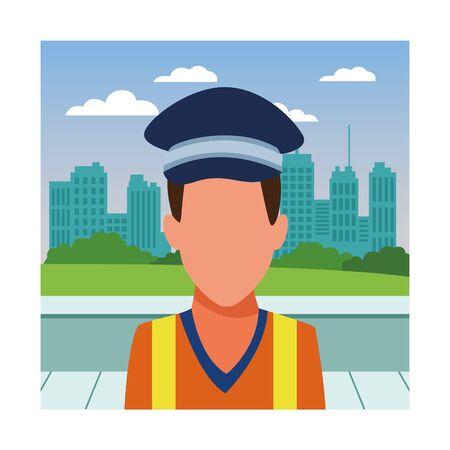 Transit agent with cap profession avatar in city park scenery vector illustration graphic design Illustration