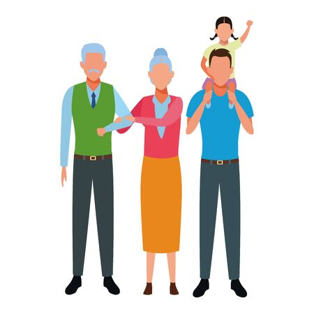family avatar cartoon character elderly couple and man carrying a child vector illustration graphic design vector illustration graphic design