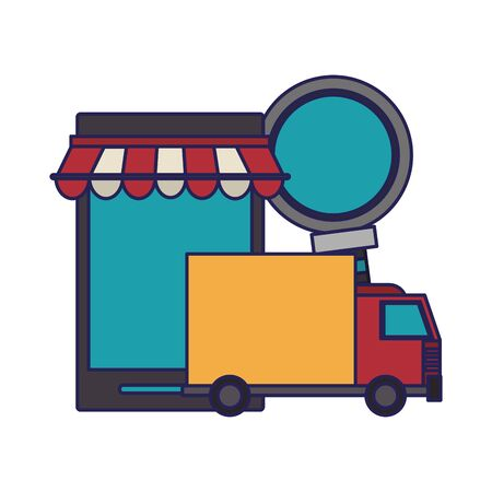 online shopping smartphone concept cartoon vector illustration graphic design