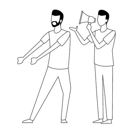 Coworkers men with bullhorn teamwork cartoon vector illustration graphic design
