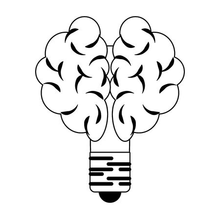 Bulb light brain shape symbol isolated vector illustration graphic design Illustration