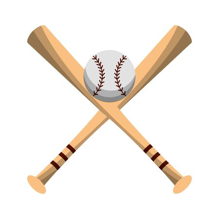 Baseball bats crossed with ball symbol vector illustration graphic design Illustration