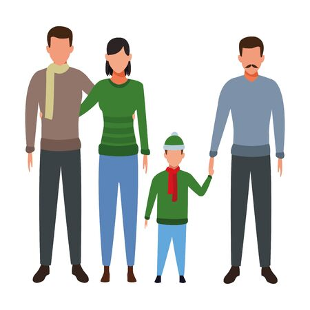 family avatar cartoon character couple and man with child wearing winter clothes vector illustration graphic design