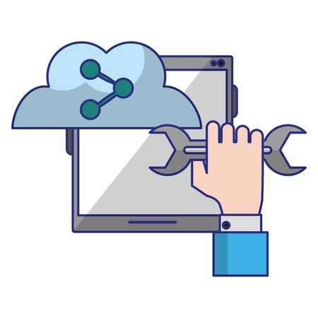 tablet with sharing cloud and wrench icon cartoon vector illustration graphic design Illustration