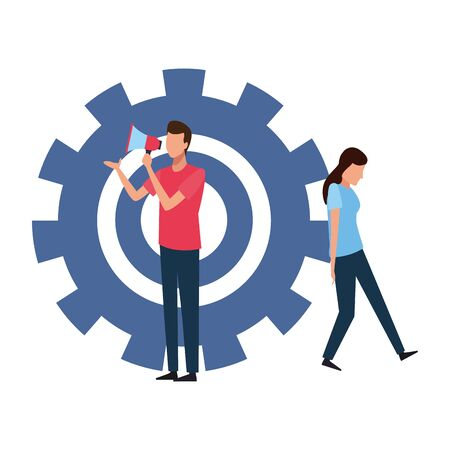 Coworkers men with bullhorn and woman stopping gear teamwork cartoon vector illustration graphic design Ilustração