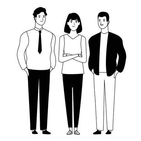 group of friends avatar cartoon character with fashion casual clothes  and businessman vector illustration graphic design