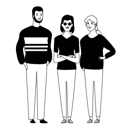 group of friends avatar cartoon character with fashion casual clothes  vector illustration graphic design Ilustrace